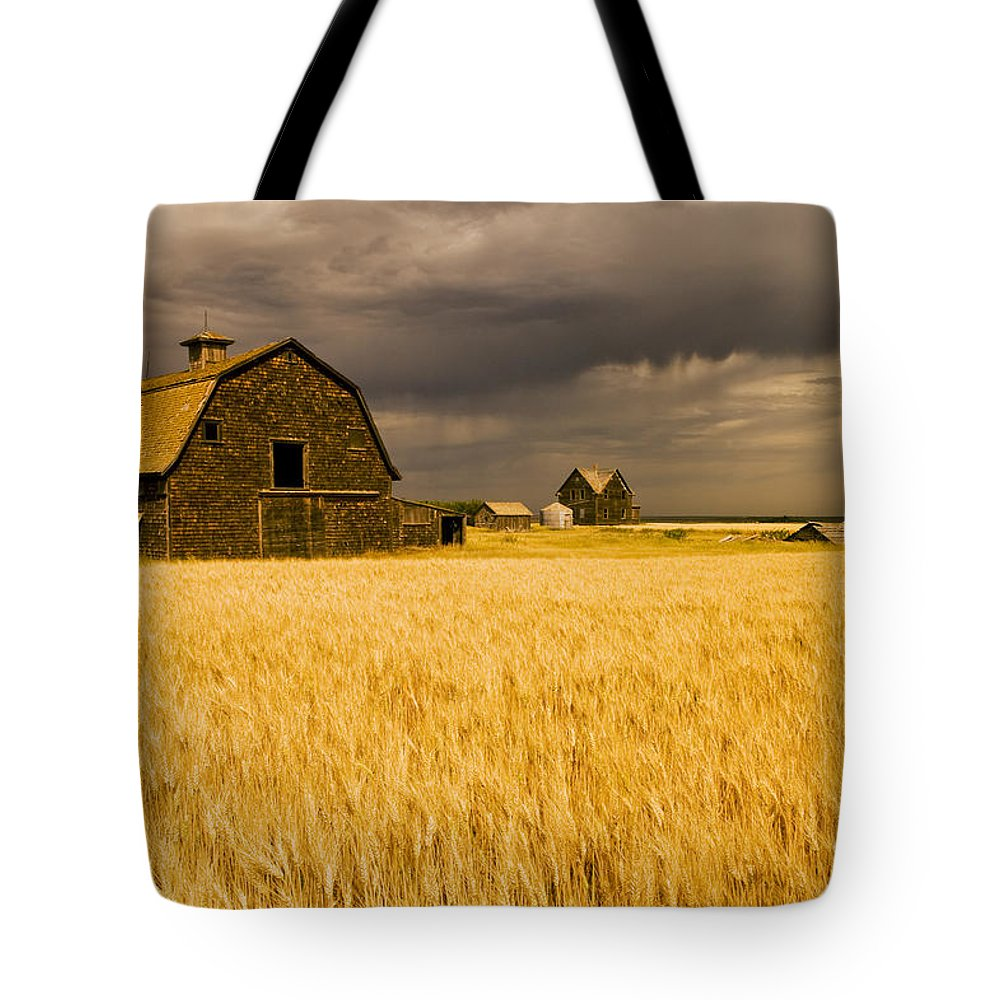 Abandoned Tote Bag featuring the photograph Abandoned Farm, Wind-blown Durum Wheat by Dave Reede