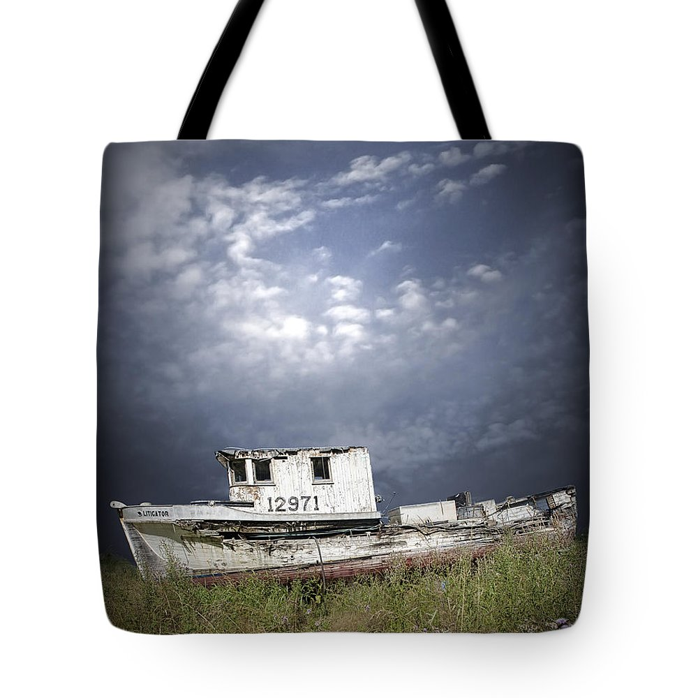 Art Tote Bag featuring the photograph Abandoned Fishing Boat In Washington State by Randall Nyhof