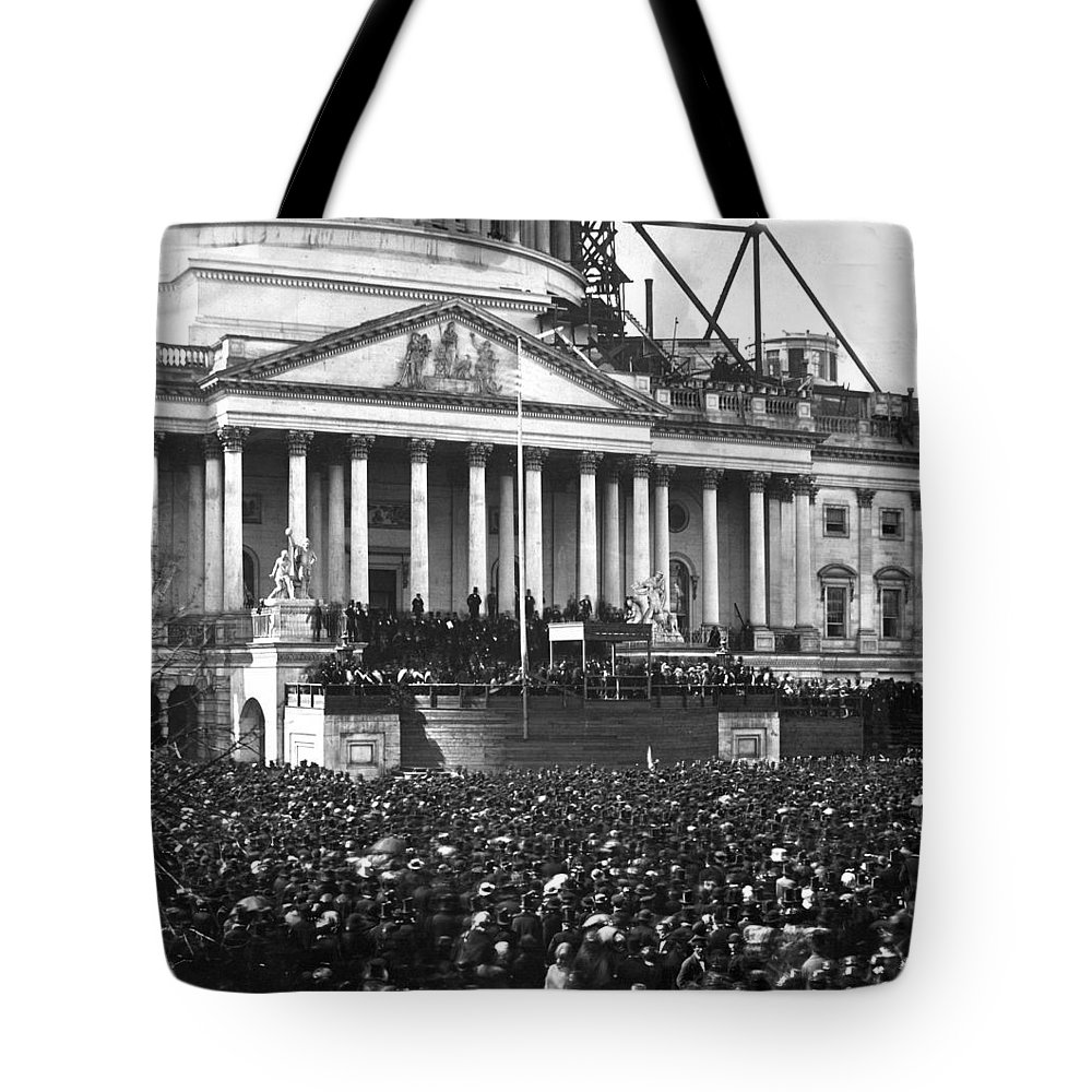 abraham Lincoln Tote Bag featuring the photograph Abraham Lincolns First Inauguration - March 4 1861 by International Images