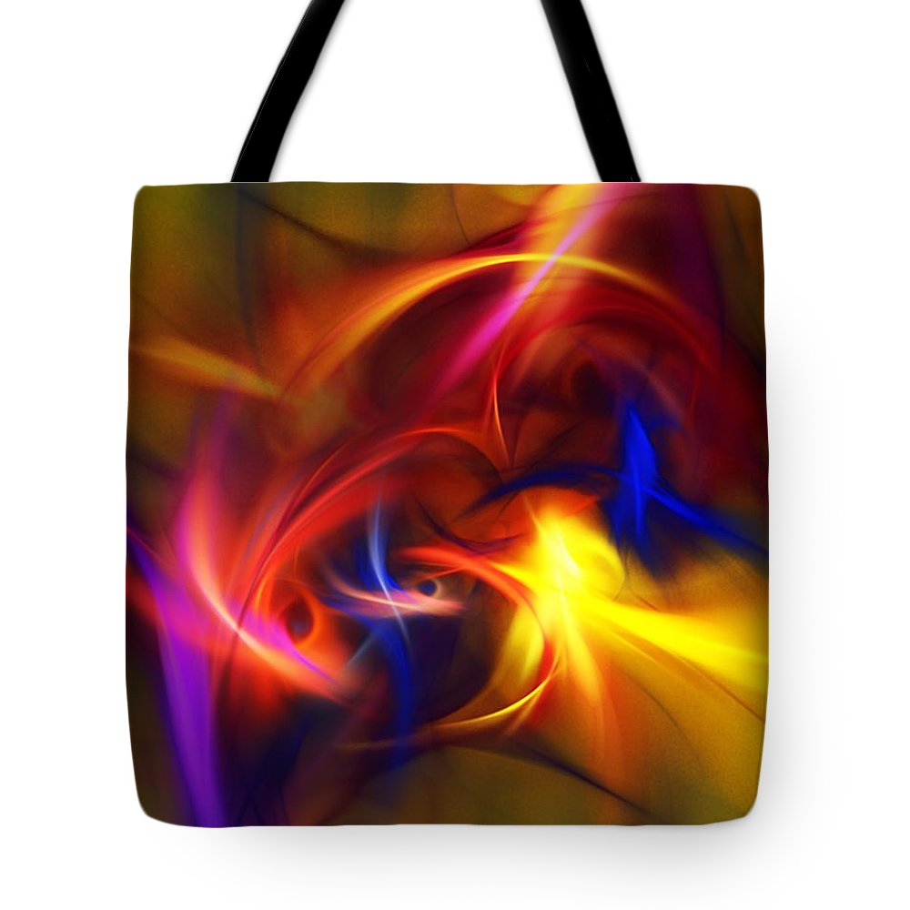 Fine Art Tote Bag featuring the digital art abstract 112811A by David Lane