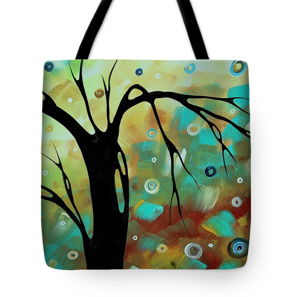 Abstract Tote Bag featuring the painting Abstract Art Original Landscape Painting Colorful Circles Morning Blues IIi By Madart by Megan Duncanson