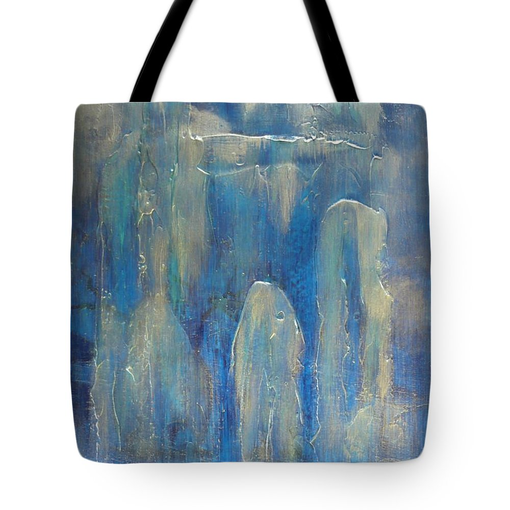 Abstract Tote Bag featuring the painting Abstract Blue Ice by Monika Shepherdson