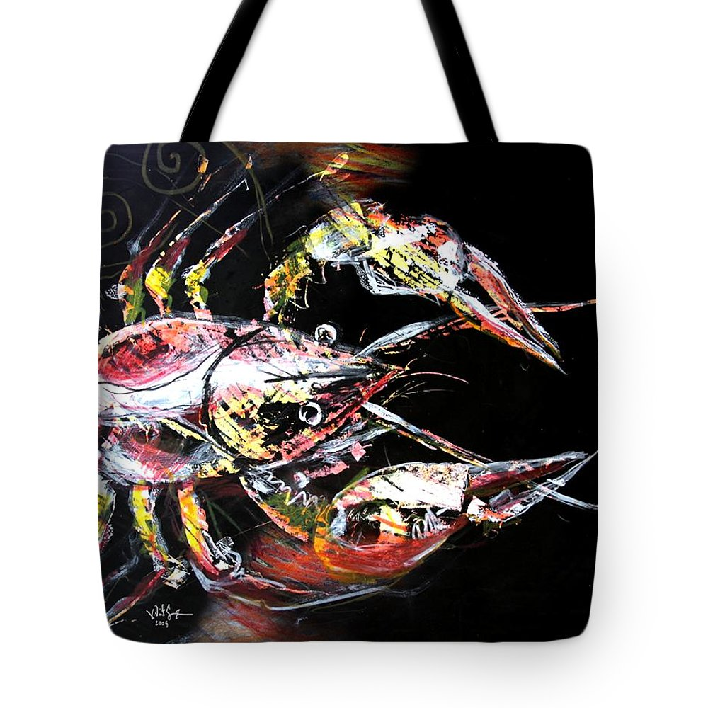 Crawdad Tote Bag featuring the painting Abstract Crawfish by J Vincent Scarpace