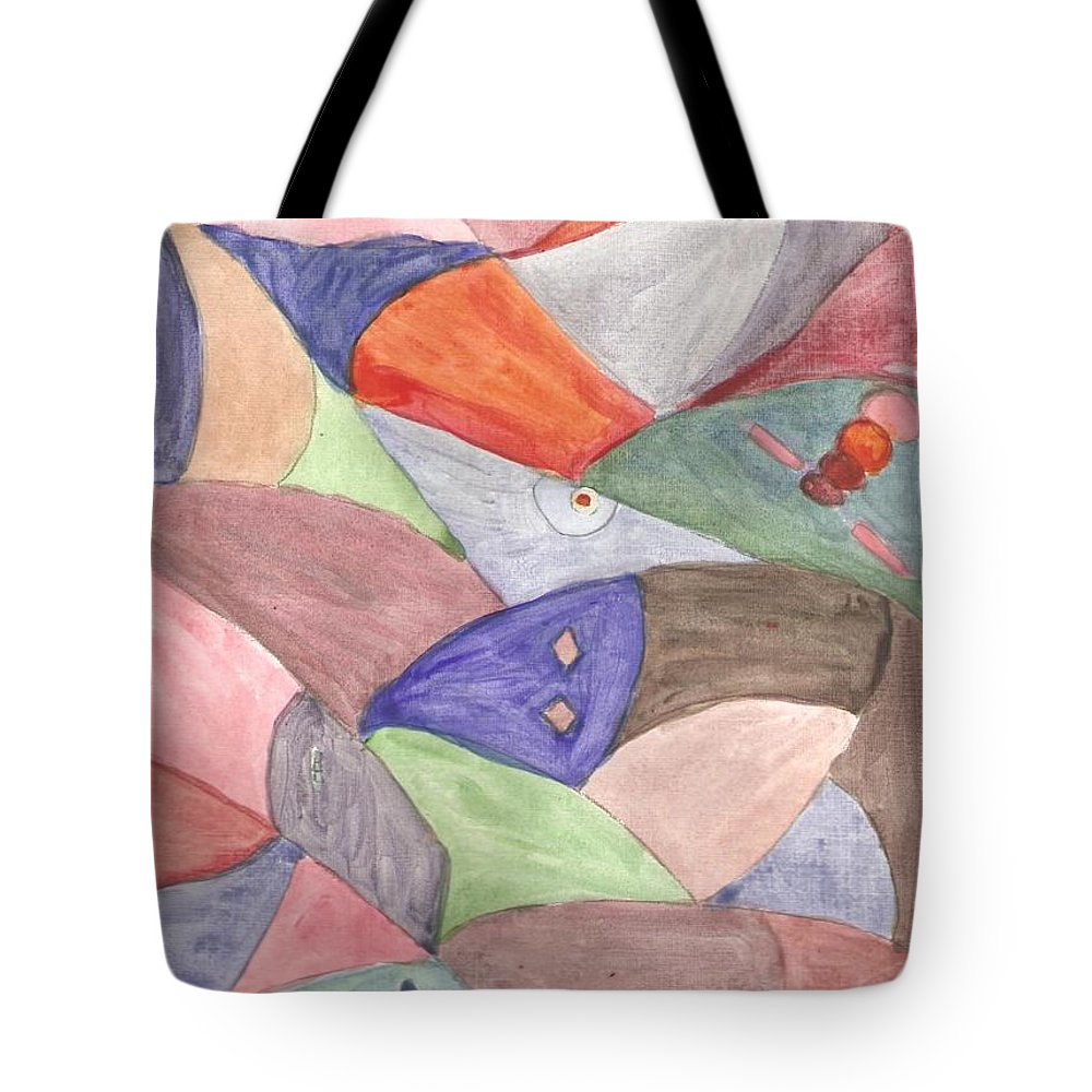 Abstract Design Tote Bag featuring the painting Abstract Design Blue by Thelma Harcum