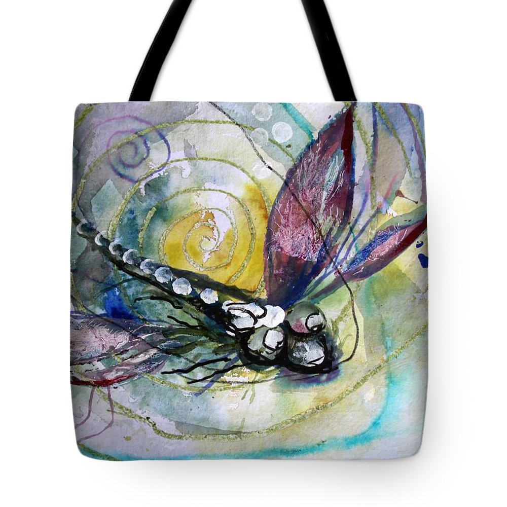 Dragonfly Tote Bag featuring the painting Abstract Dragonfly 11 by J Vincent Scarpace