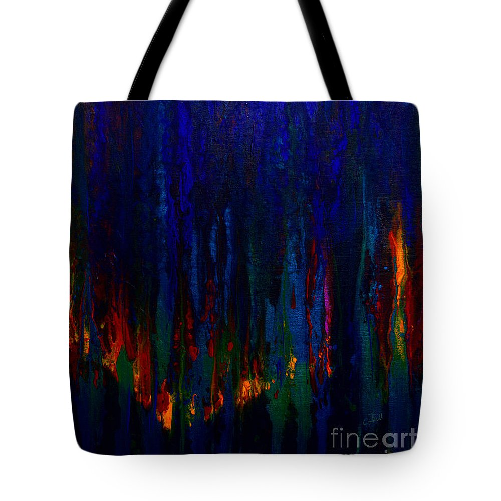 Abstract Tote Bag featuring the painting Abstract Evergreens by Claire Bull