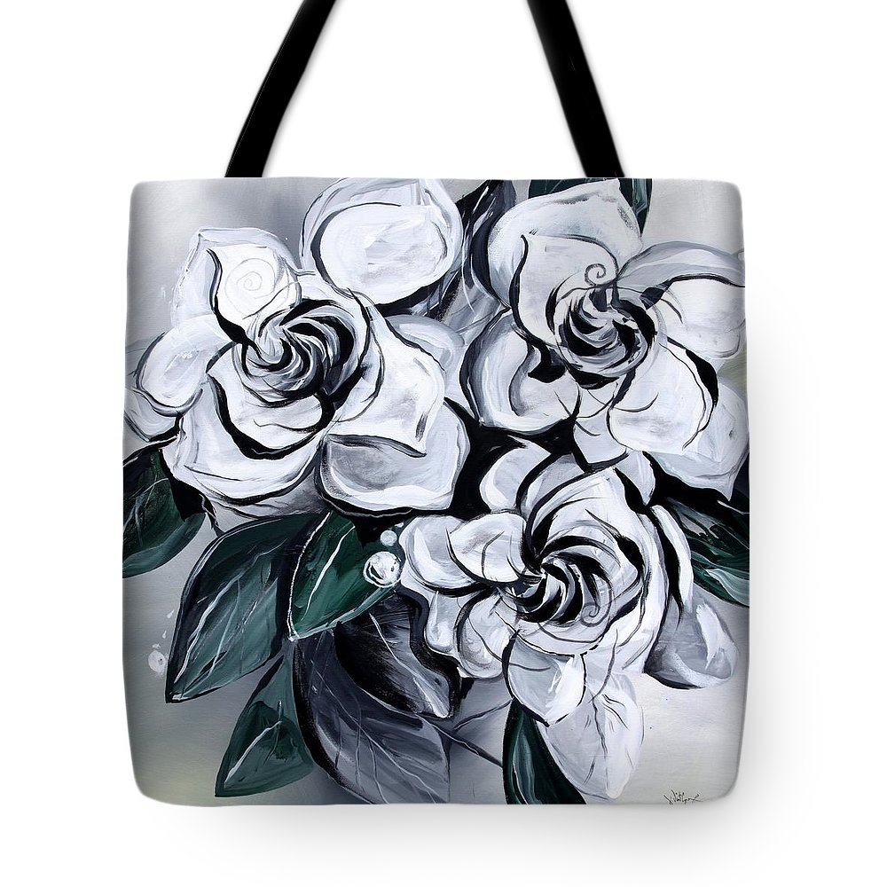 Gardenias Tote Bag featuring the painting Abstract Gardenias by J Vincent Scarpace