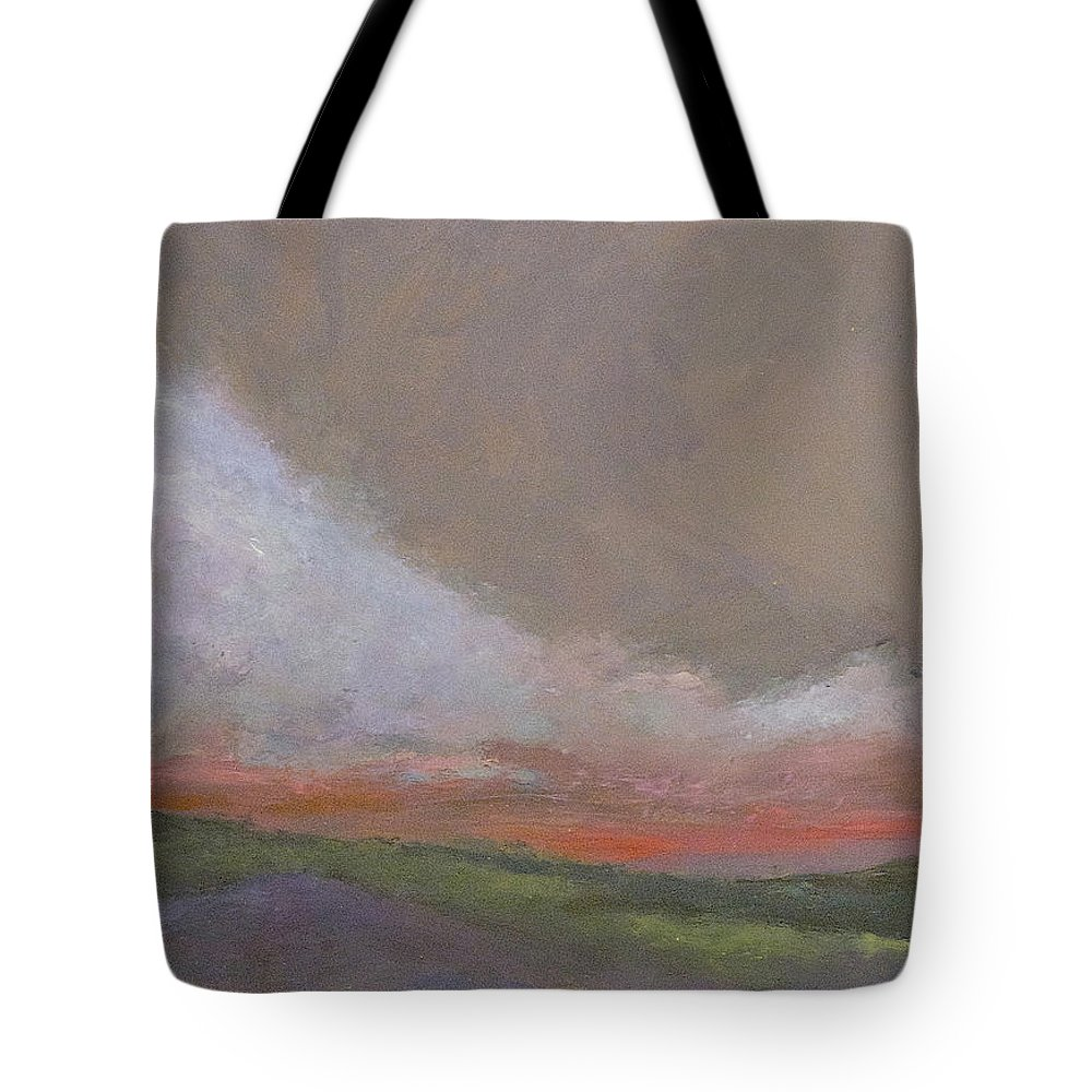 Landscape Tote Bag featuring the painting Abstract Landscape - Scarlet Light by Kathleen Grace