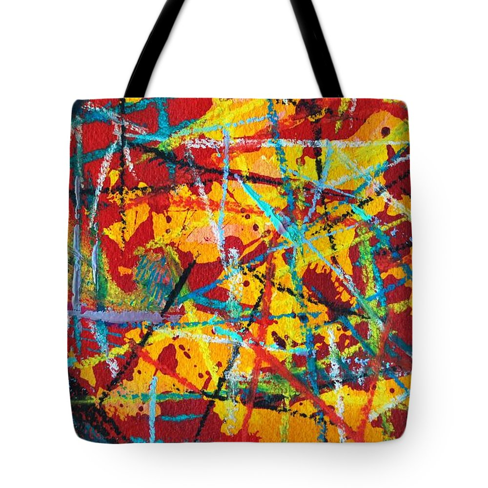 Abstract Tote Bag featuring the painting Abstract Pizza 1 by Ana Maria Edulescu