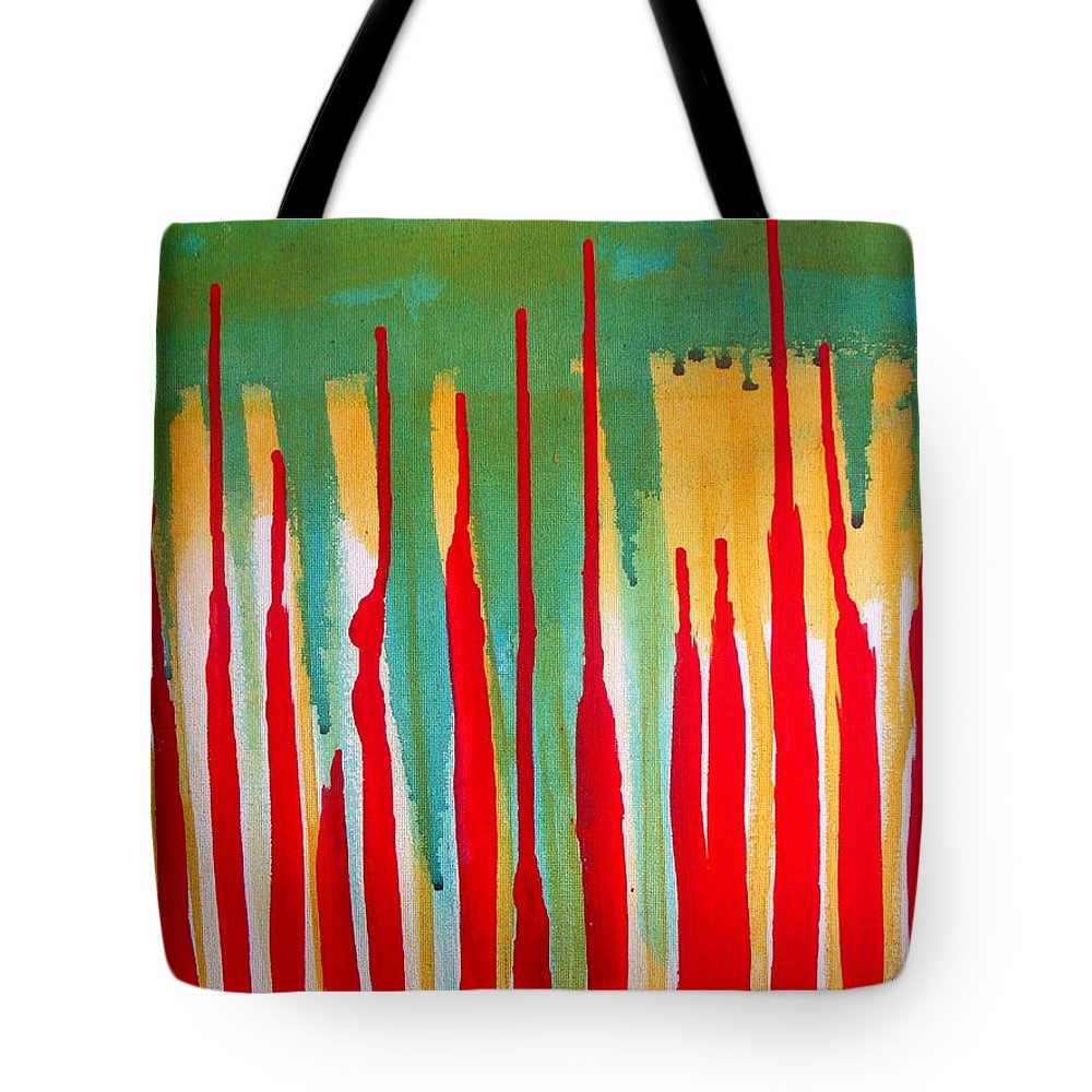 Abstract Tote Bag featuring the painting Spilled Shadows by Vesna Antic