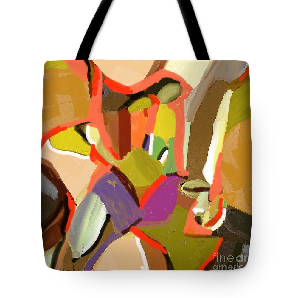 Art Online Tote Bag featuring the painting Abstract203 by Nedunseralathan R