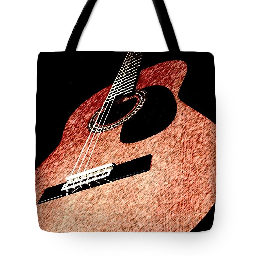 Guitar Tote Bag featuring the photograph Acoustica by Chris Murphy Elliott