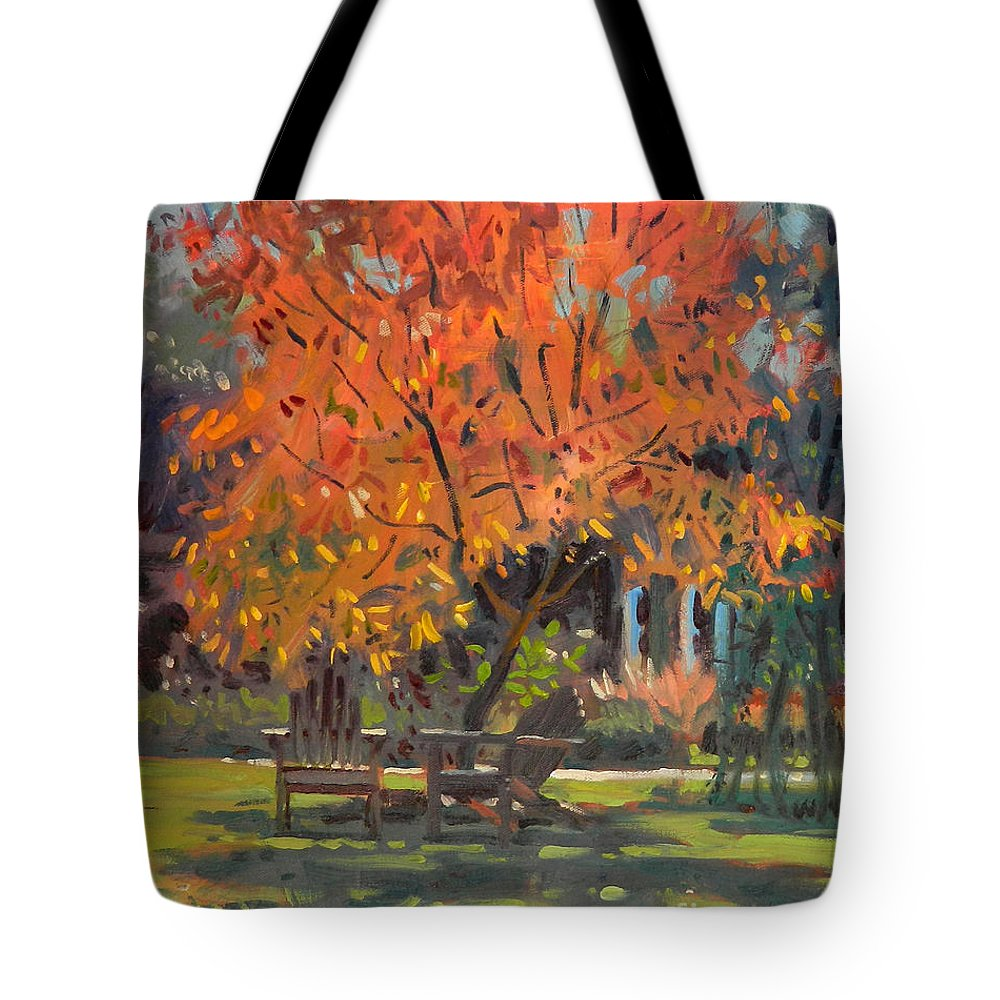 Smith Tote Bag featuring the painting Adirondack Chairs by Donald Maier
