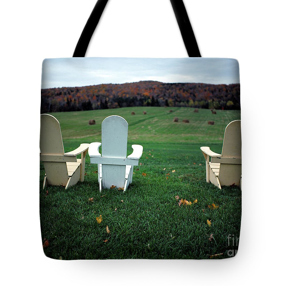 Adirondack Tote Bag featuring the photograph Adirondack Chairs by Mike Nellums