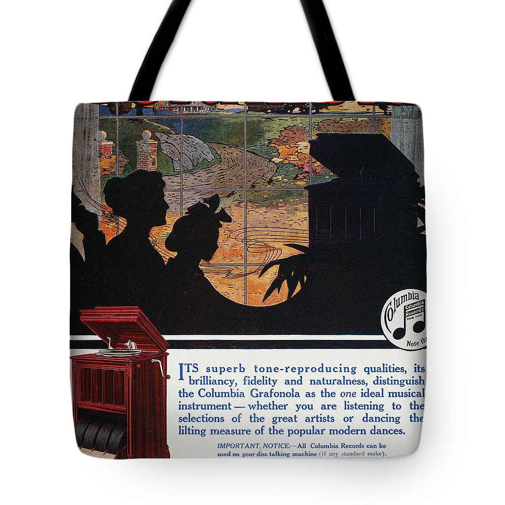 1914 Tote Bag featuring the photograph Ads: Phonograph, 1914 by Granger