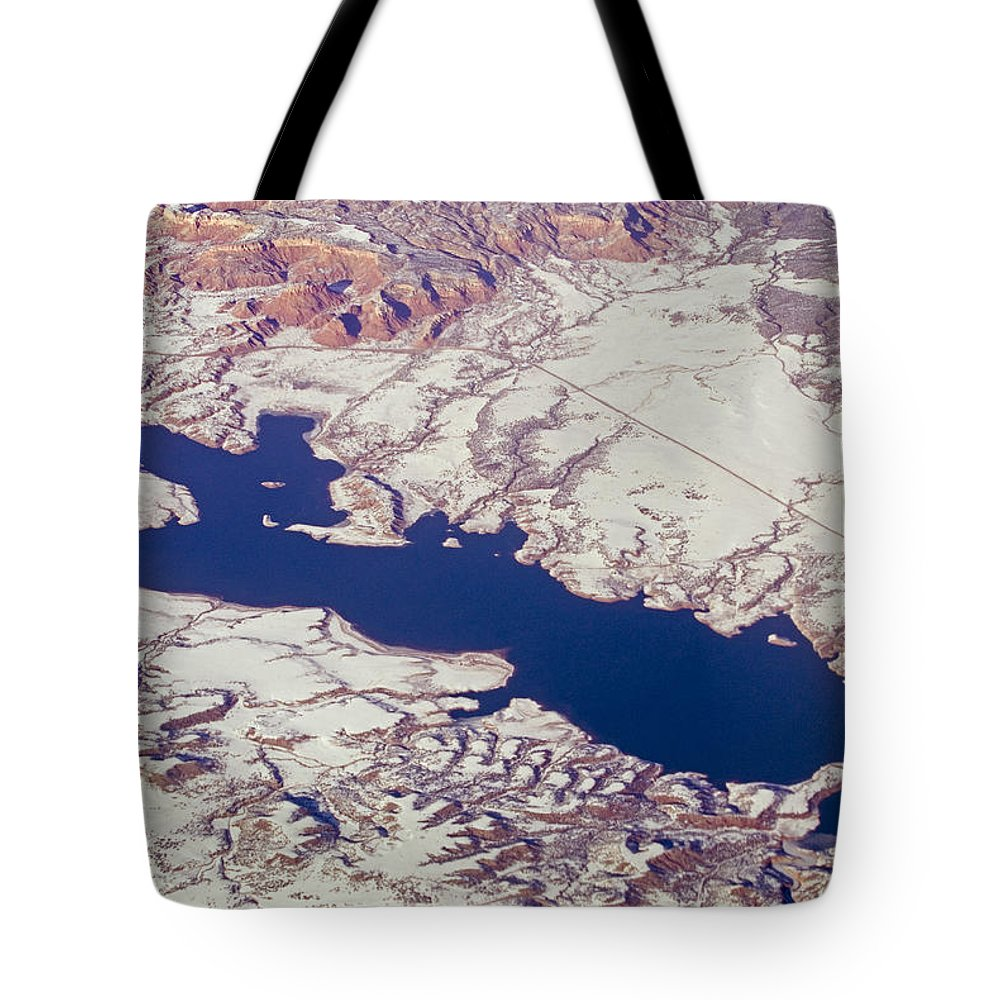 Aerial Views Tote Bag featuring the photograph Aerial Of Abiquiu Reservoir Covered by Rich Reid