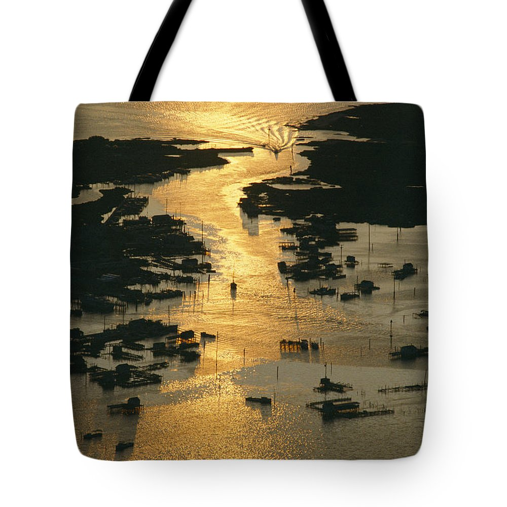 Geography Tote Bag featuring the photograph Aerial Shot, Tangier Island, Chesapeake by Skip Brown