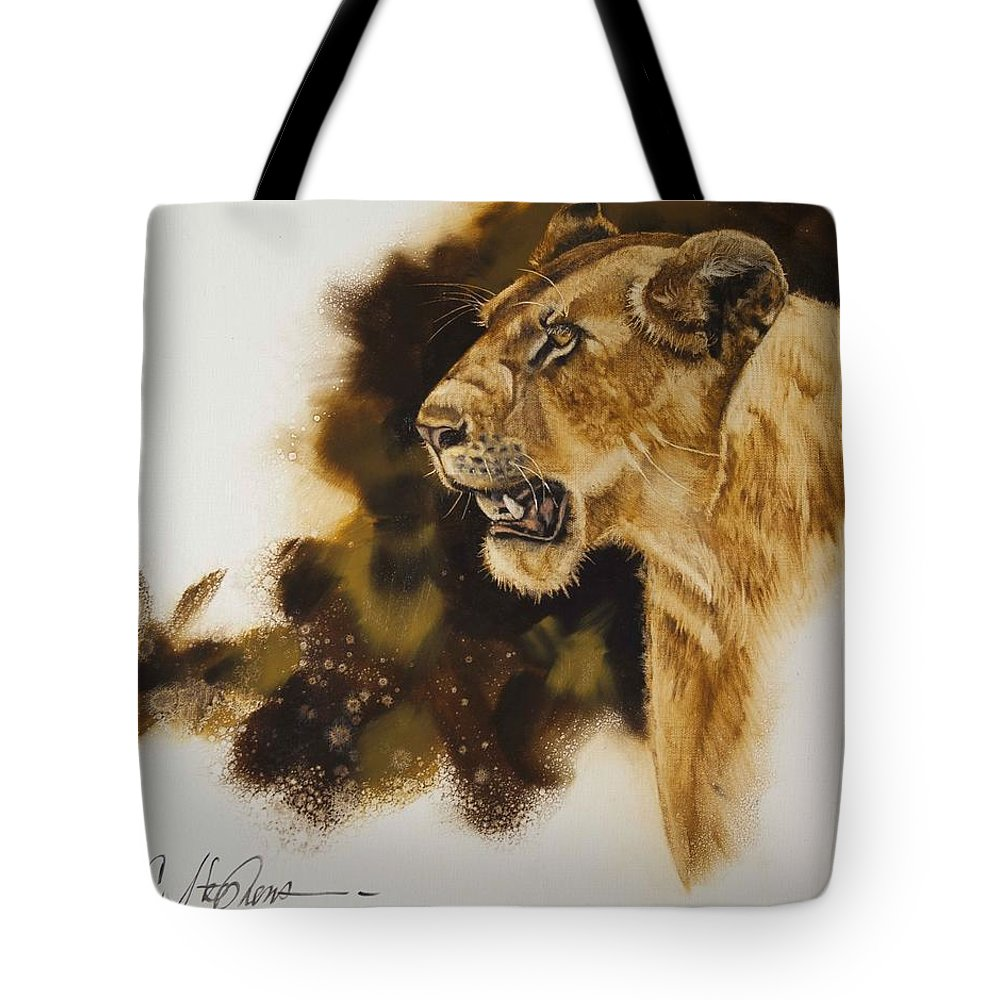 African Lion Tote Bag featuring the painting African Queen by Virgil Stephens
