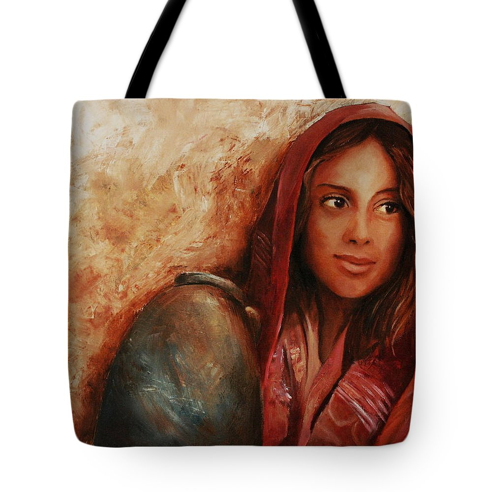 Alabaster Tote Bag featuring the painting Alabaster by Jun Jamosmos