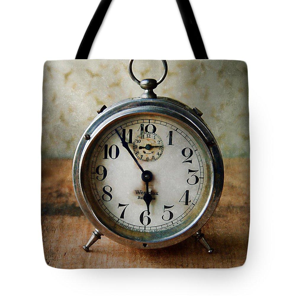Clock Tote Bag featuring the photograph Alarm Clock by Jill Battaglia