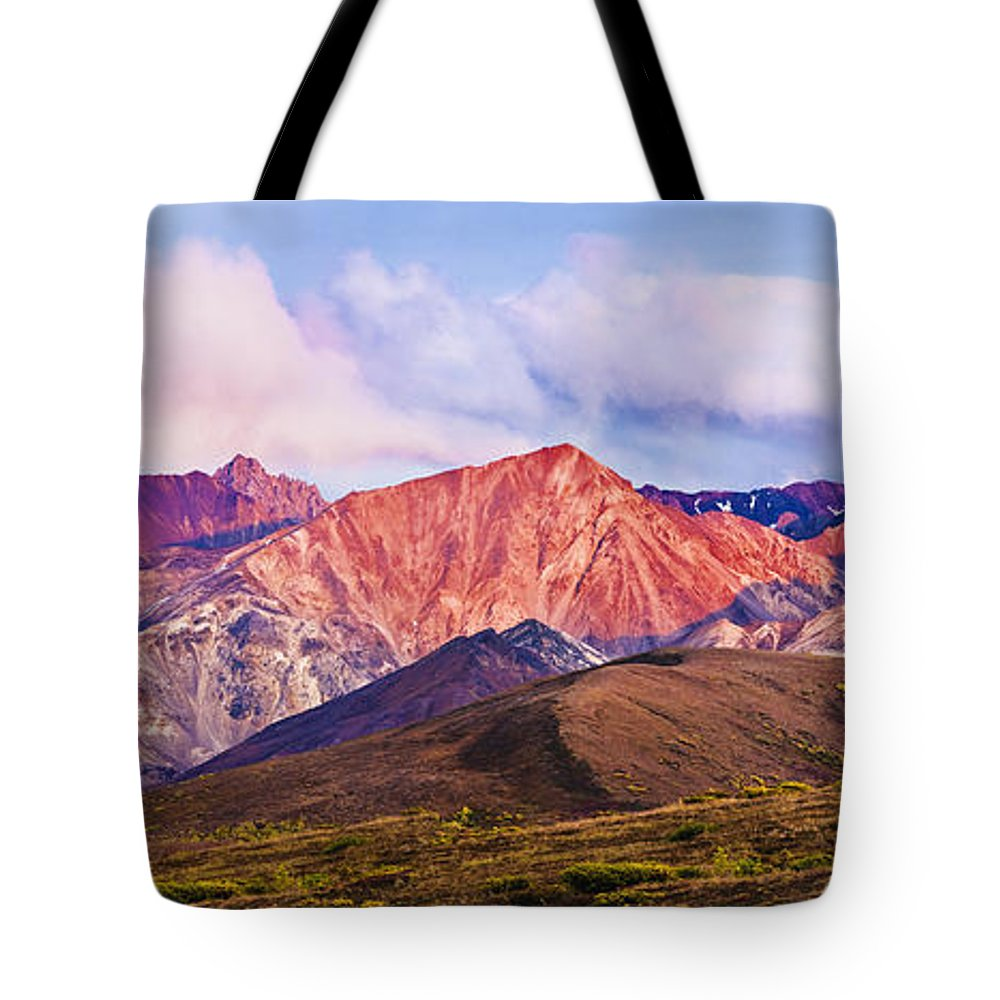 Autumn Tote Bag featuring the photograph Alaska Range And Fall Colours by Yves Marcoux