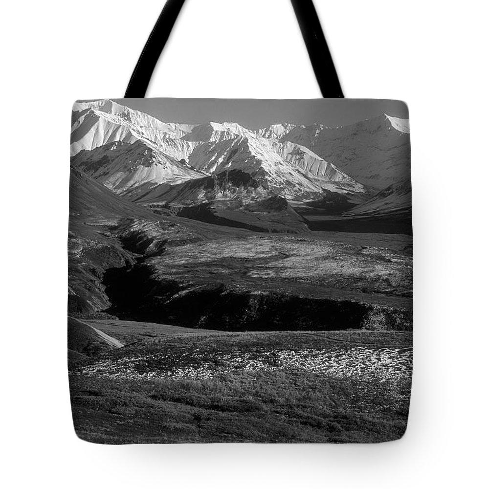 Alaska Tote Bag featuring the photograph Alaska Valley by Sandra Bronstein