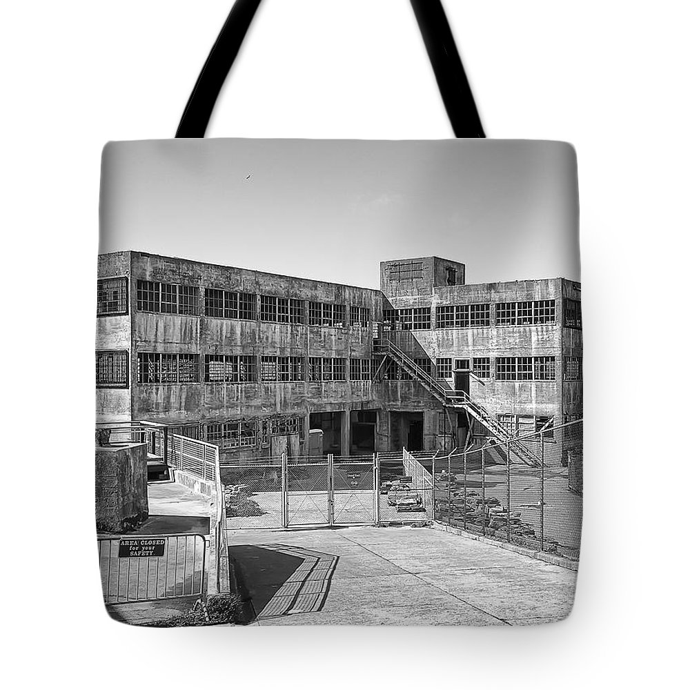 Alcatraz Tote Bag featuring the photograph Alcatraz Model Industries Building by Daniel Hagerman