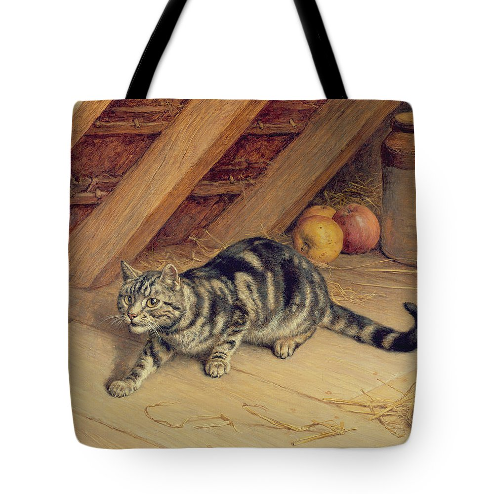 Cat; Apples; Loft Tote Bag featuring the painting Alert by Frank Paton