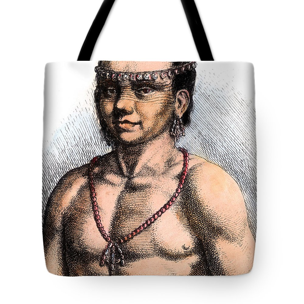 1645 Tote Bag featuring the photograph Algonquian Man, 1645 by Granger