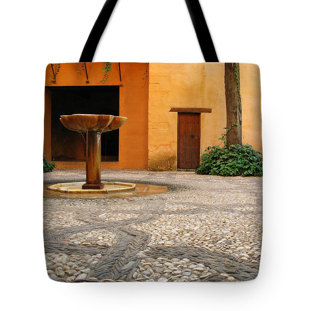 Courtyard Tote Bag featuring the photograph Alhambra Courtyard And Fountain In Spain by Greg Matchick