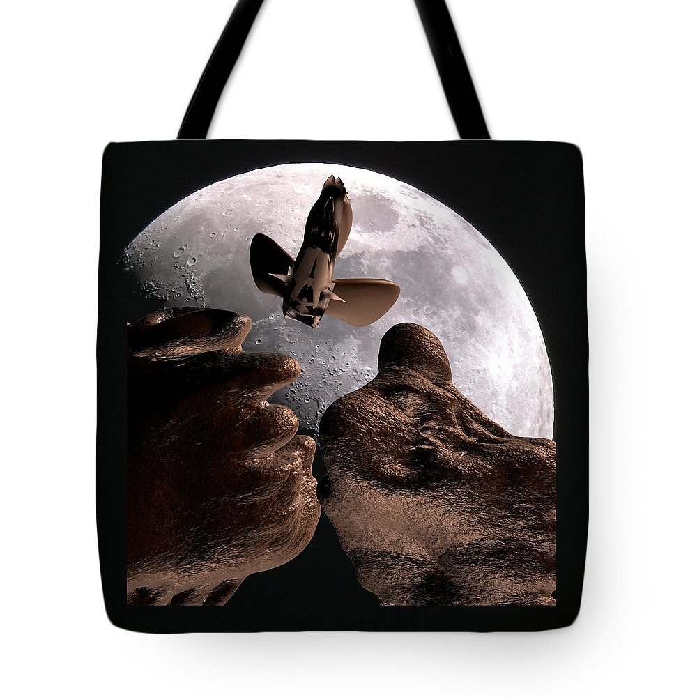 Space Tote Bag featuring the mixed media Alien view by Robert aka Bobby Ray Howle