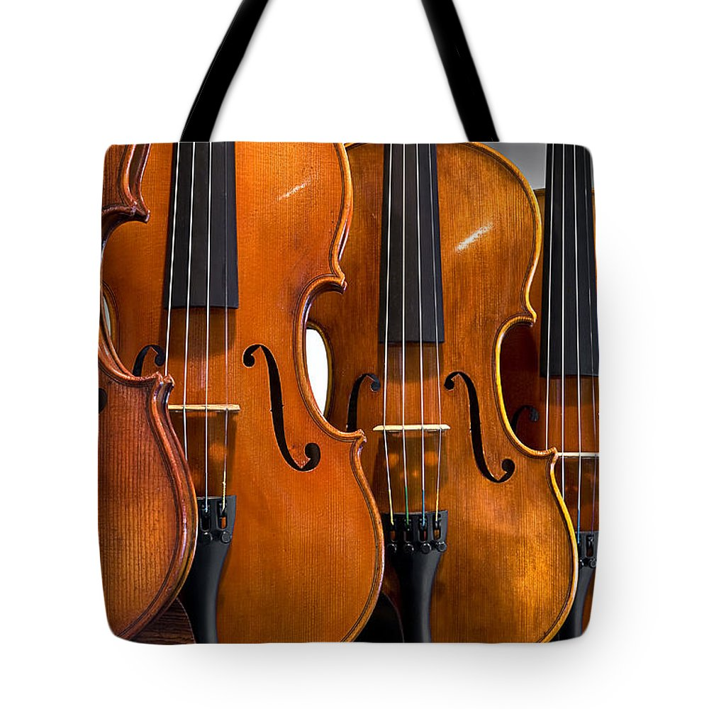 Violin Tote Bag featuring the photograph All In A Row by Endre Balogh