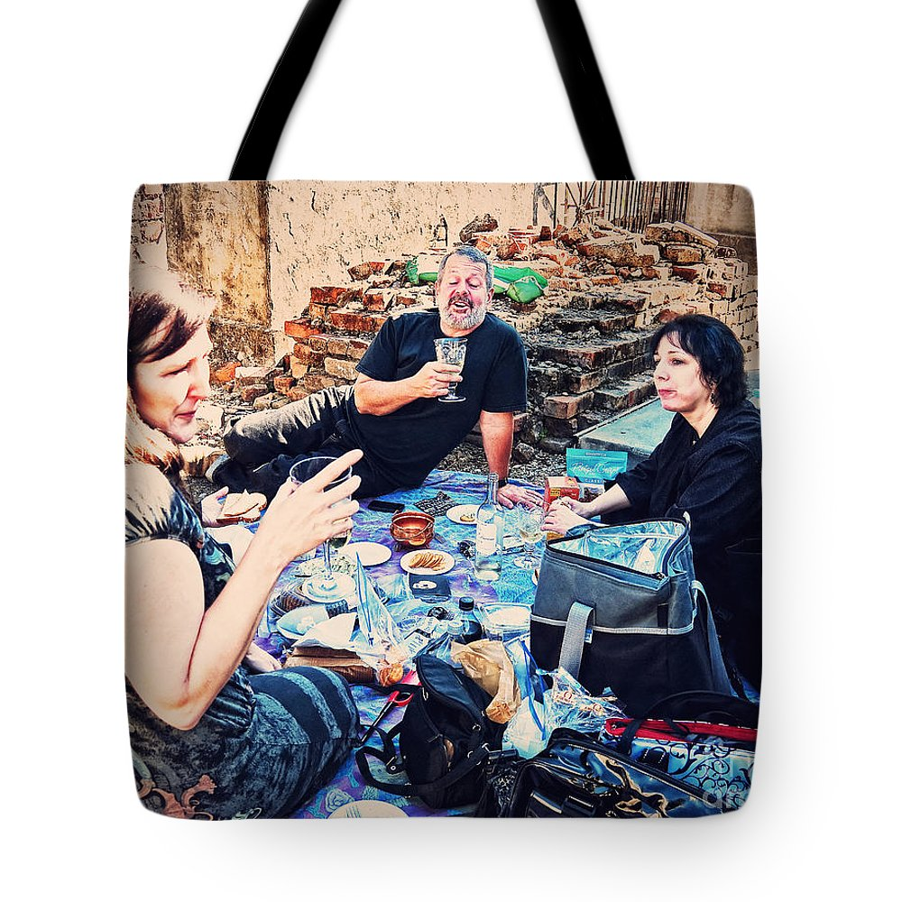 All Tote Bag featuring the photograph All Saints Day Cemetery Picnic New Orleans by Kathleen K Parker