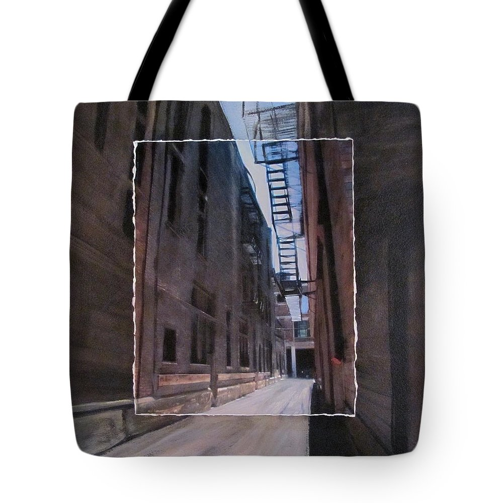 Alley Tote Bag featuring the mixed media Alley With Fire Escape Layered by Anita Burgermeister