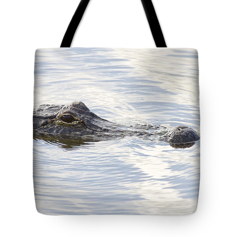 Alligator Tote Bag featuring the photograph Alligator With Sky Reflections - A Closer View by Bill Swindaman