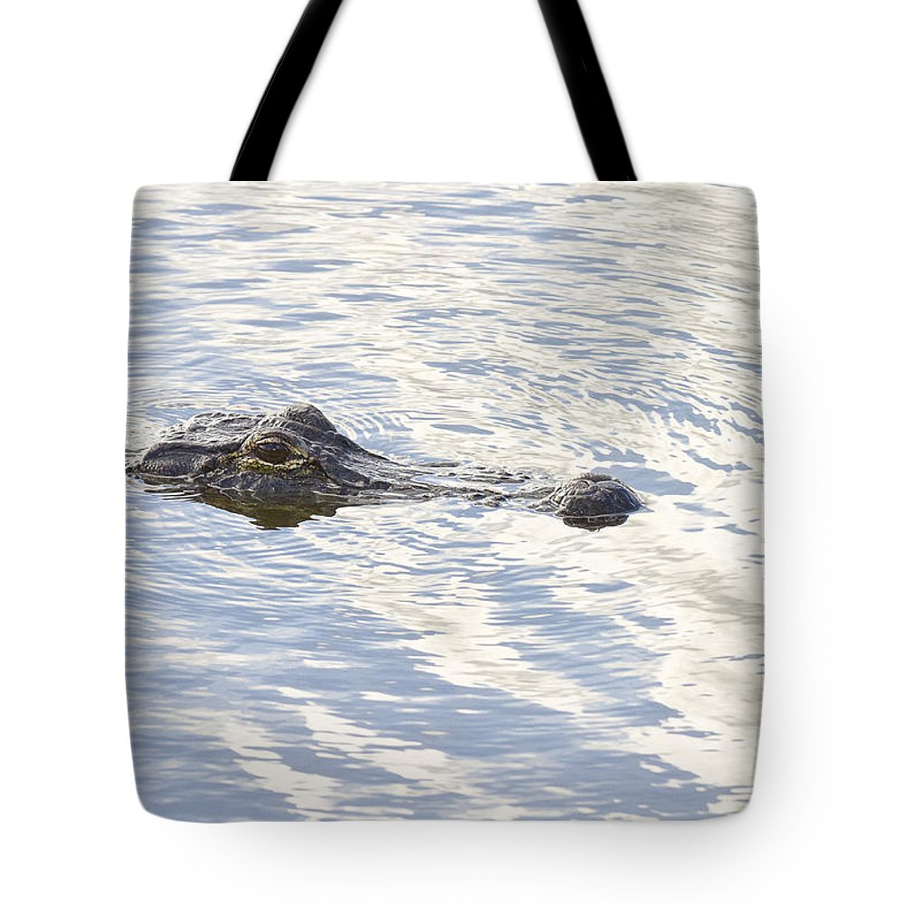Wildlife Tote Bag featuring the photograph Alligator With Sky Reflections by Bill Swindaman