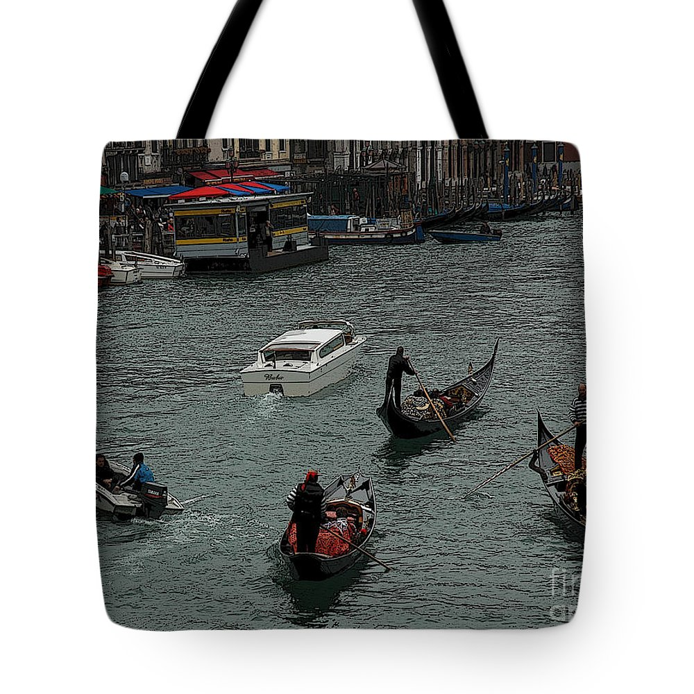 Venice Tote Bag featuring the photograph Along The Canal by Vivian Christopher