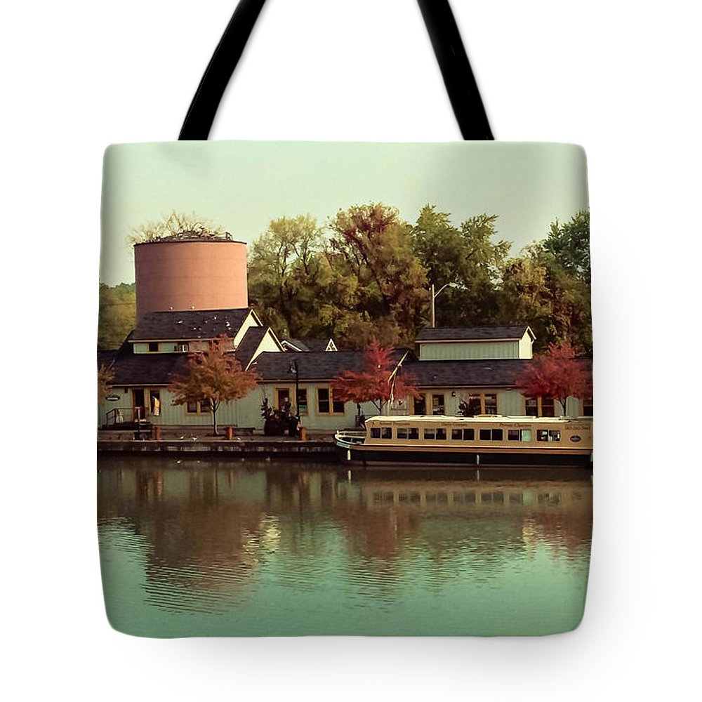 Boat Tote Bag featuring the photograph Along The Erie Canal by Ken Marsh