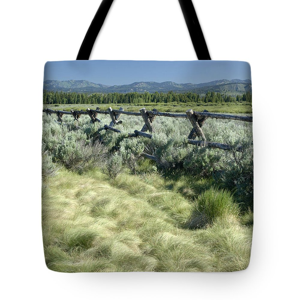 Grand Teton National Park Tote Bag featuring the photograph Along The Fence by Sandra Bronstein