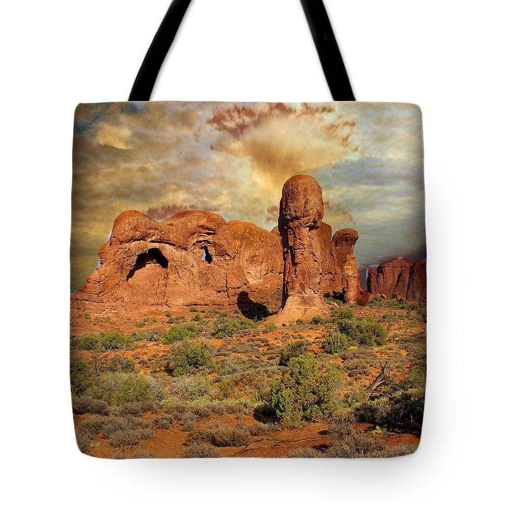 Arches National Park Tote Bag featuring the photograph Amber Arches by Marty Koch