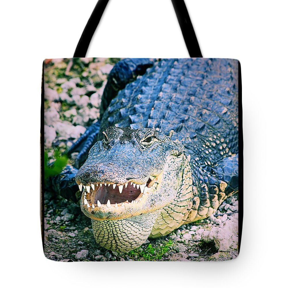 Close-up Tote Bag featuring the photograph American Alligator by Rudy Umans