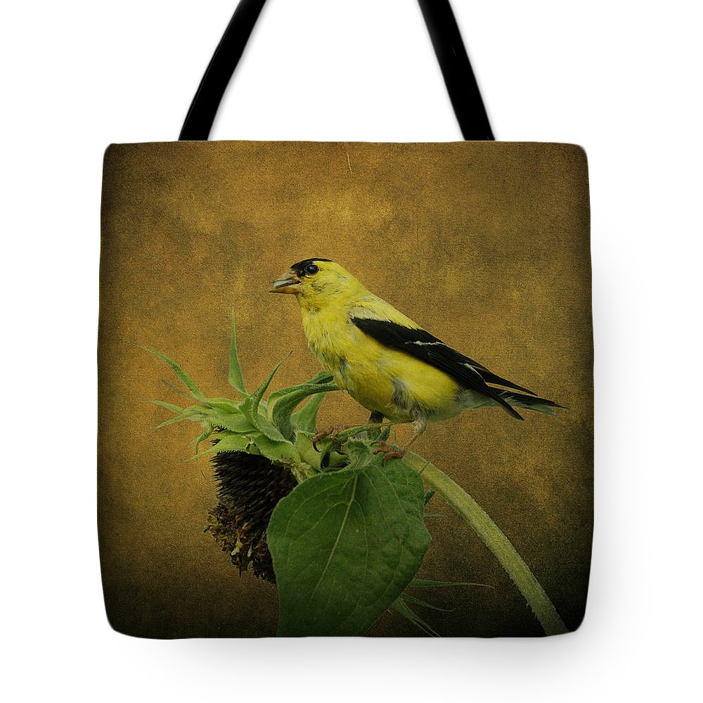 Bird Tote Bag featuring the photograph American Goldfinch by Sandy Keeton