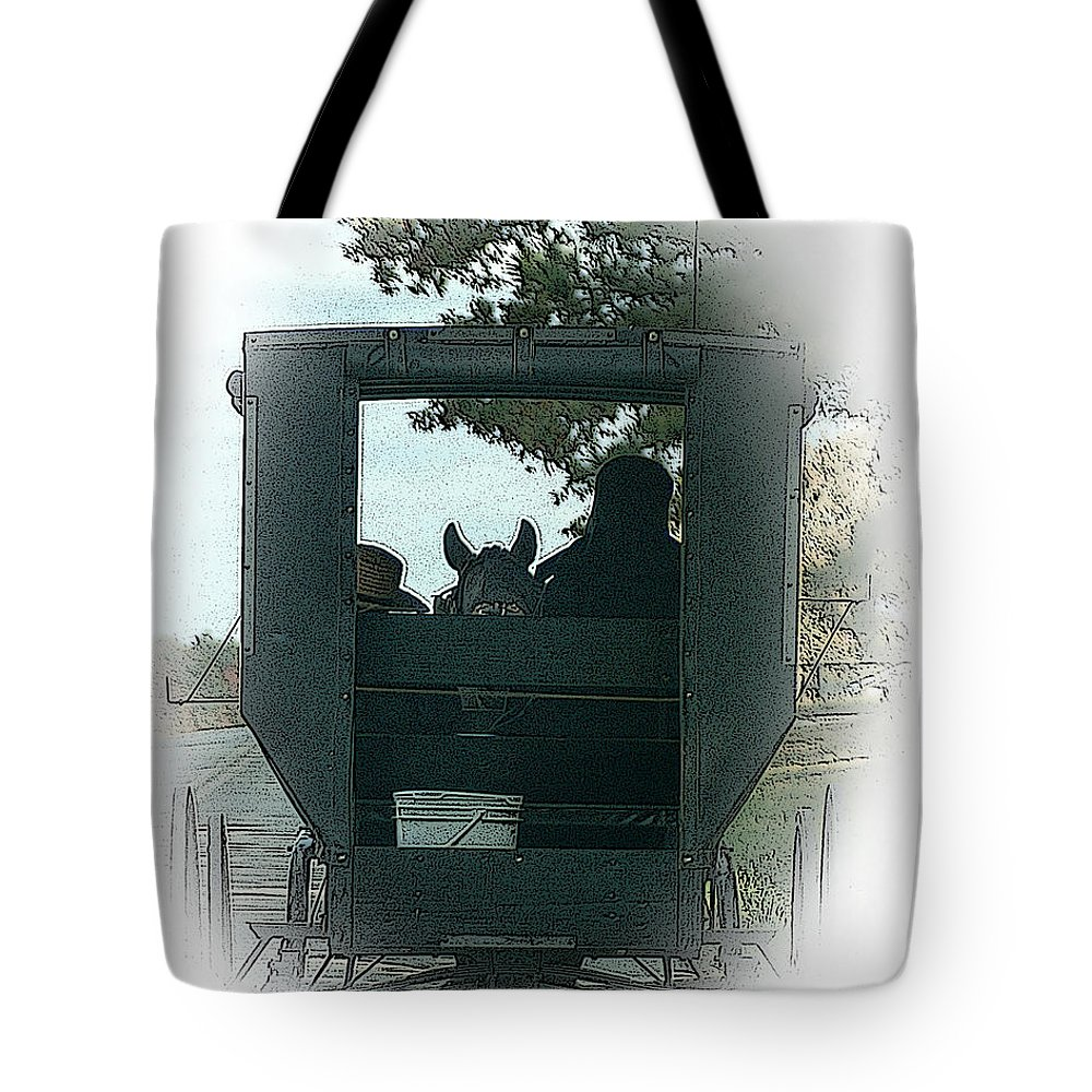 Amish Tote Bag featuring the digital art Amish Buggy Ride by TnBackroadsPhotos
