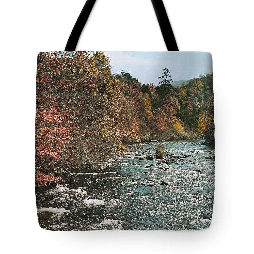 tennessee Tote Bag featuring the photograph An Autumn Scene Along Little River by J. Baylor Roberts