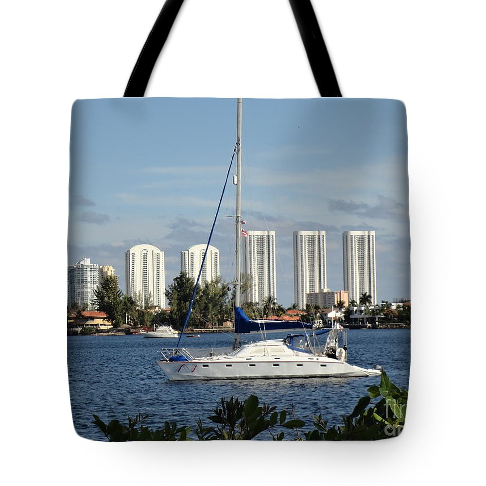 Sailboat Tote Bag featuring the photograph Anchored On Maule Lake by Maria Bonnier-Perez