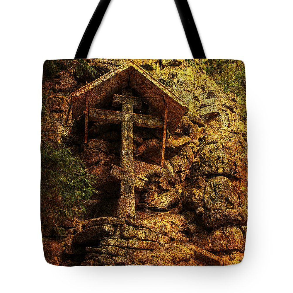 Cross Tote Bag featuring the photograph Ancient Cross. Holy Island by Jenny Rainbow