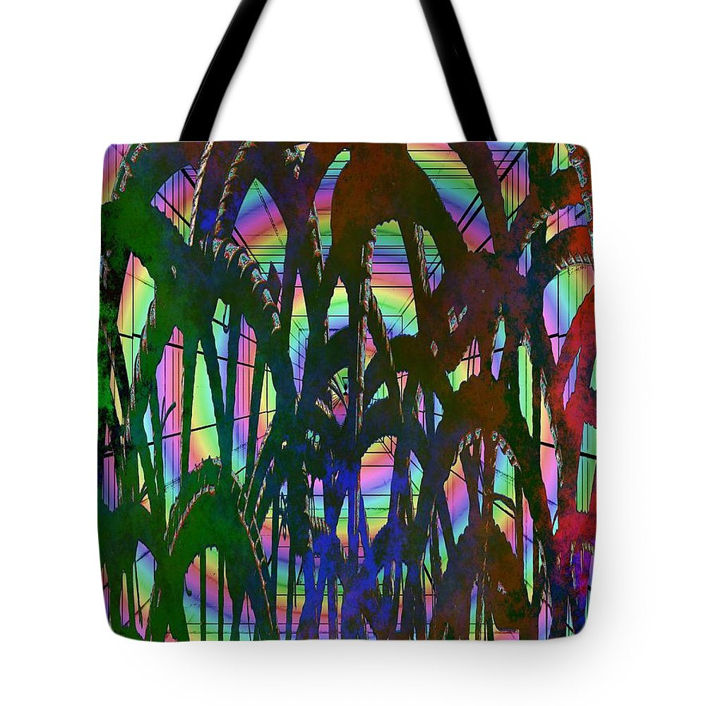 Abstract Tote Bag featuring the digital art And They All Came Tumbling Down by Tim Allen