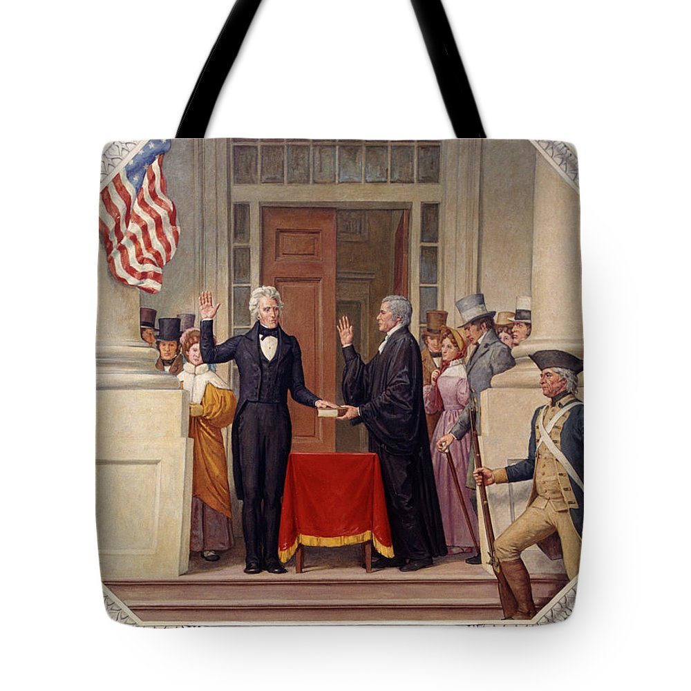 andrew Jackson Tote Bag featuring the photograph Andrew Jackson At The First Capitol Inauguration - C 1829 by International Images