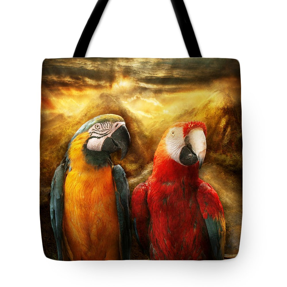 Parrot Tote Bag featuring the photograph Animal - Parrot - Parrot-dise by Mike Savad