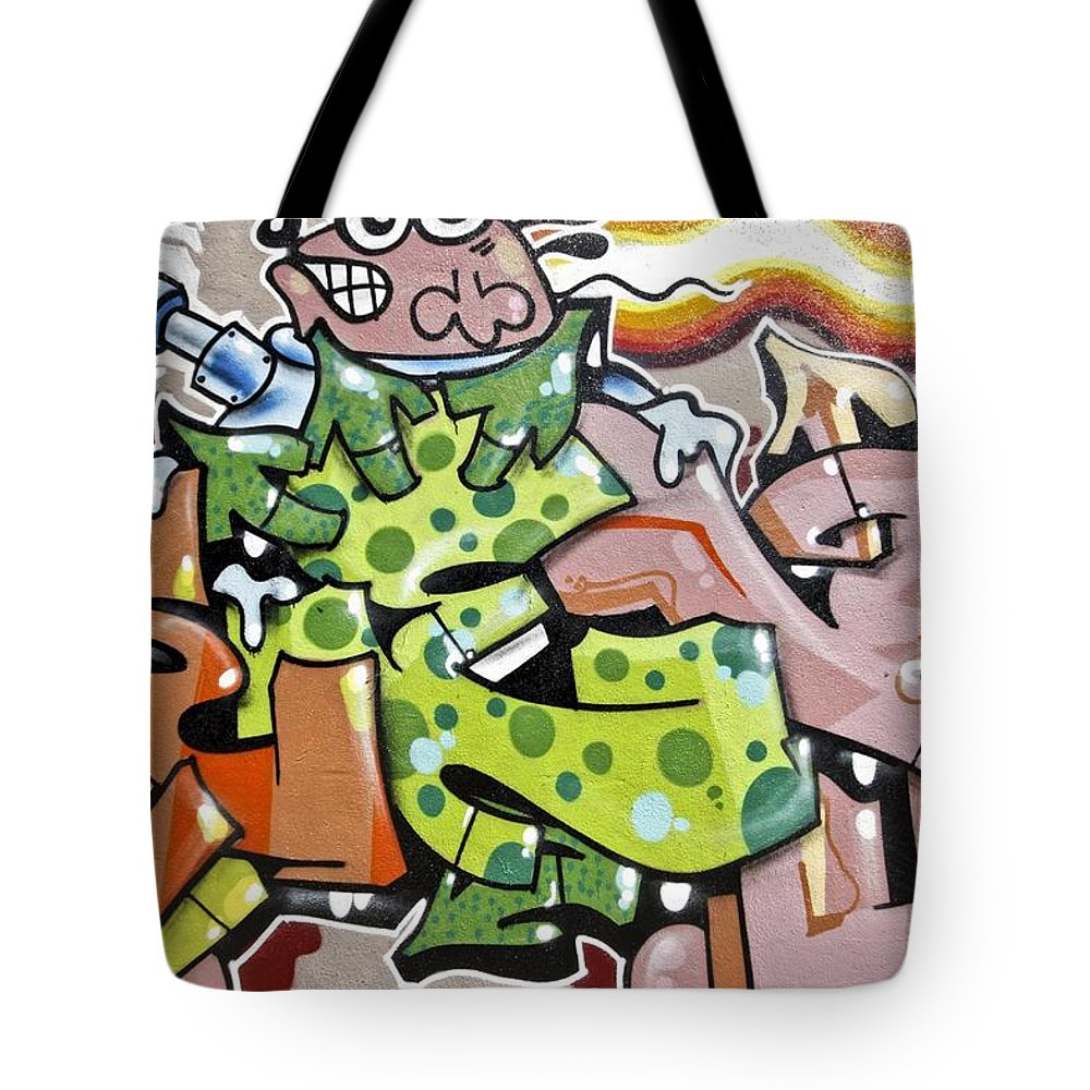 Abstract Tote Bag featuring the painting Animals by Nisangha Ji